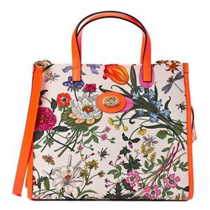 Gucci Floral Orange Canvas Medium Tote Bag
